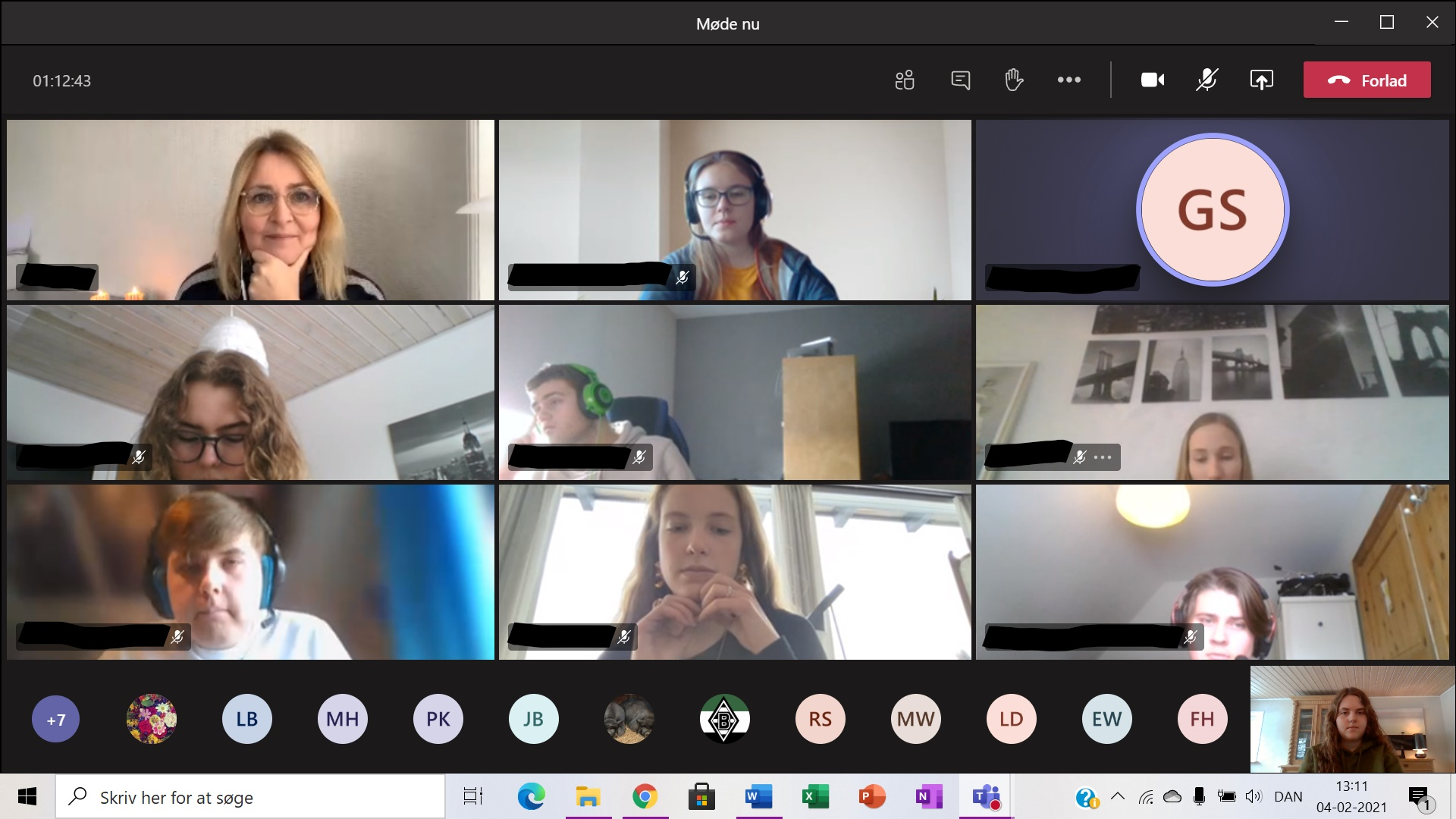 MdEP Christel Schaldemose (oben links) im virtuellen Unterricht am DGN